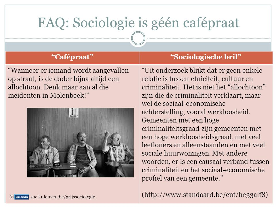 FAQ: Sociologie is géén cafépraat
