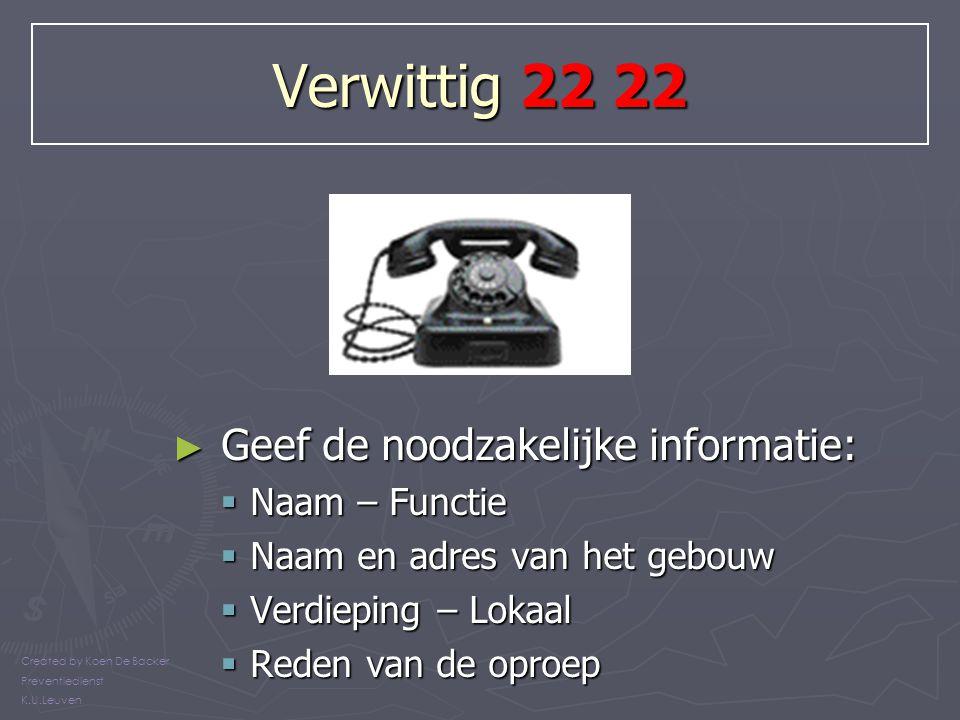 Verwittig 22 22 Geef de noodzakelijke informatie: Naam – Functie