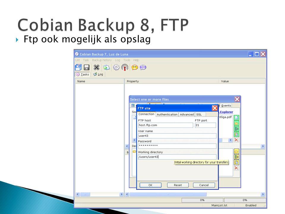 Cobian Backup 8, FTP Ftp ook mogelijk als opslag