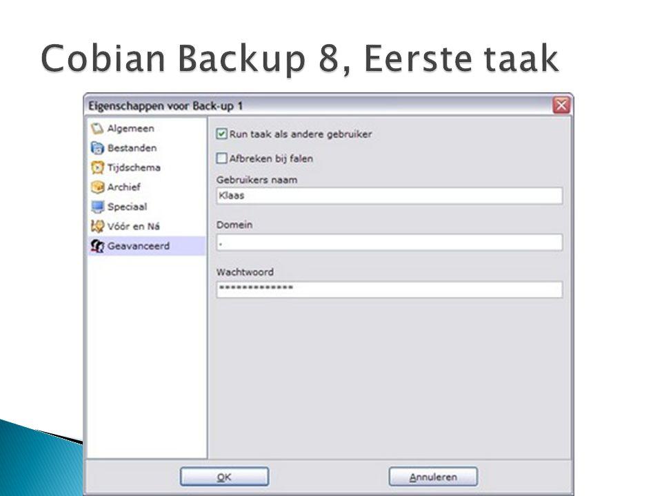Cobian Backup 8, Eerste taak