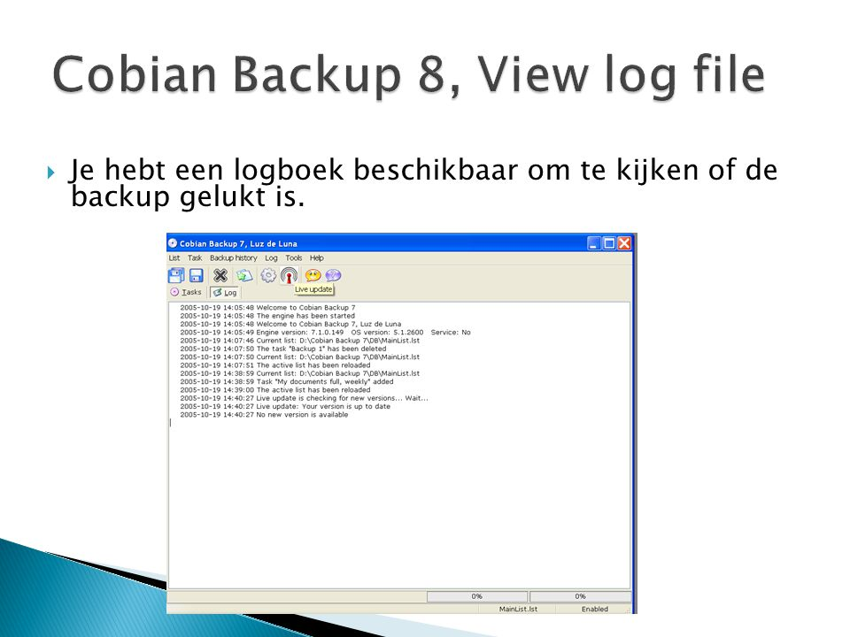 Cobian Backup 8, View log file