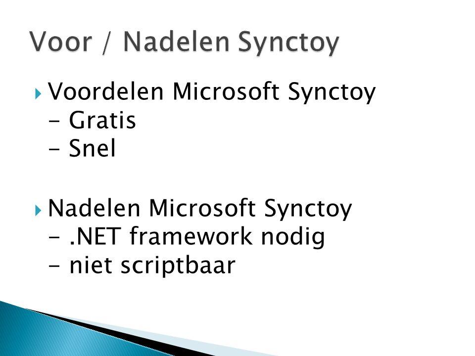 Voor / Nadelen Synctoy Voordelen Microsoft Synctoy - Gratis - Snel