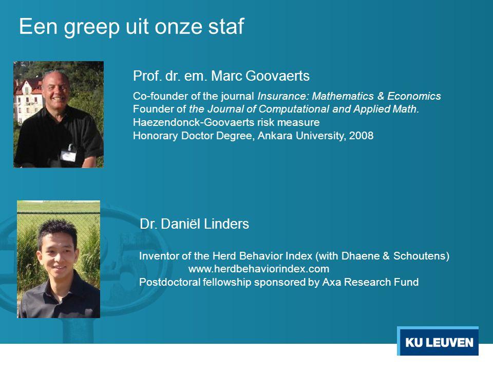Een greep uit onze staf Prof. dr. em. Marc Goovaerts