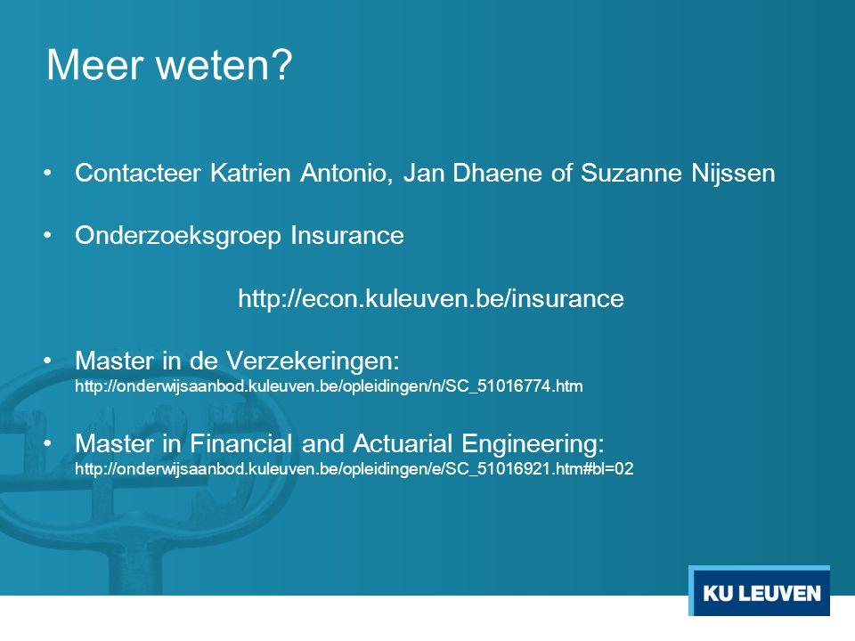 Meer weten Contacteer Katrien Antonio, Jan Dhaene of Suzanne Nijssen