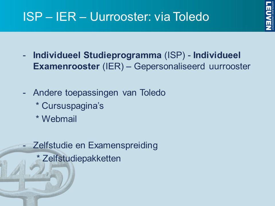 ISP – IER – Uurrooster: via Toledo