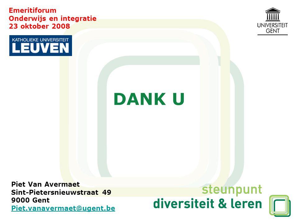 Emeritiforum Onderwijs en integratie 23 oktober 2008