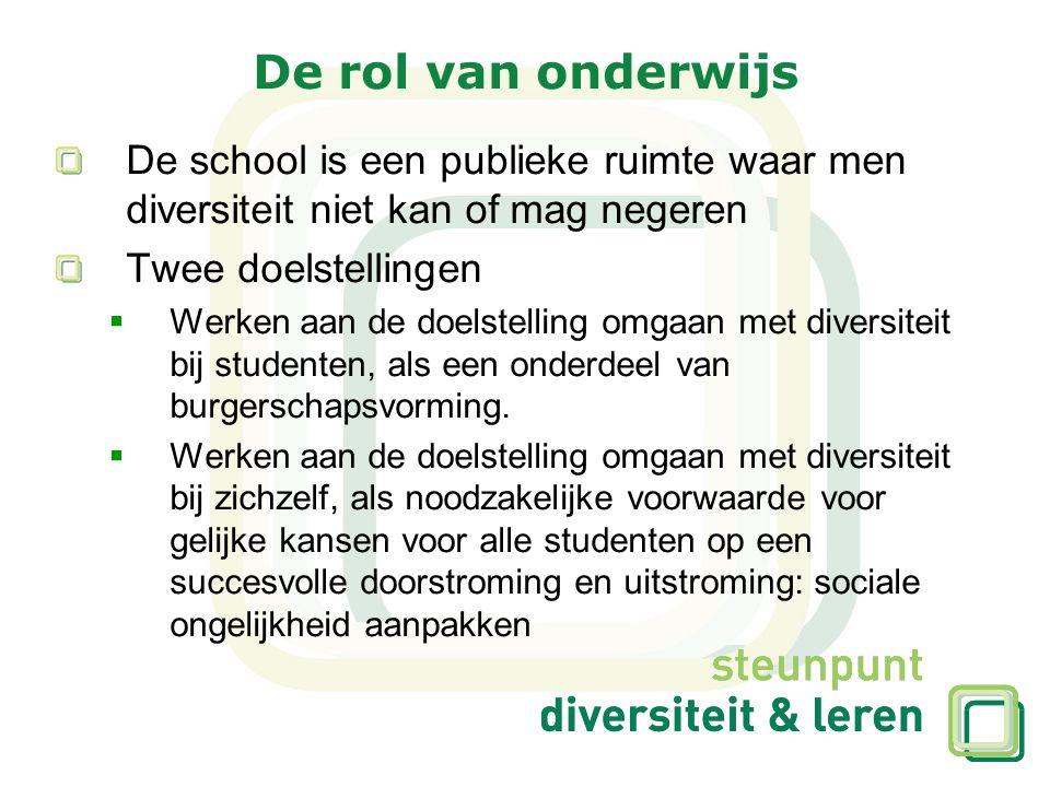 De rol van onderwijs De school is een publieke ruimte waar men diversiteit niet kan of mag negeren.
