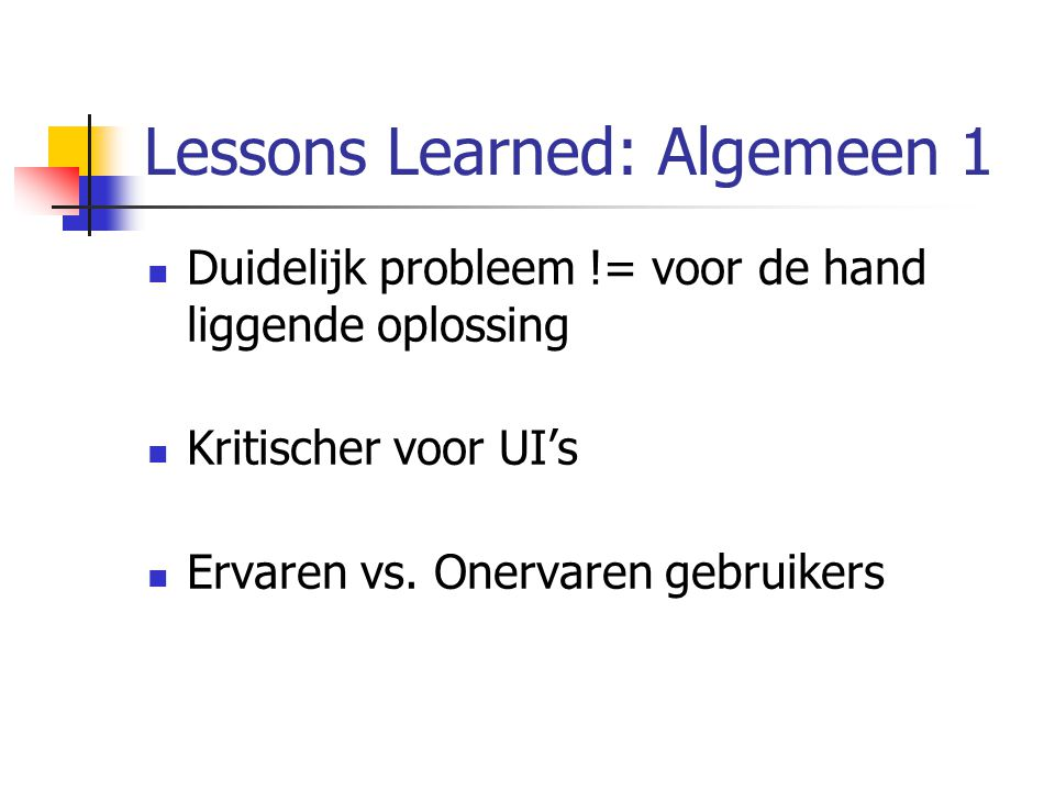 Lessons Learned: Algemeen 1