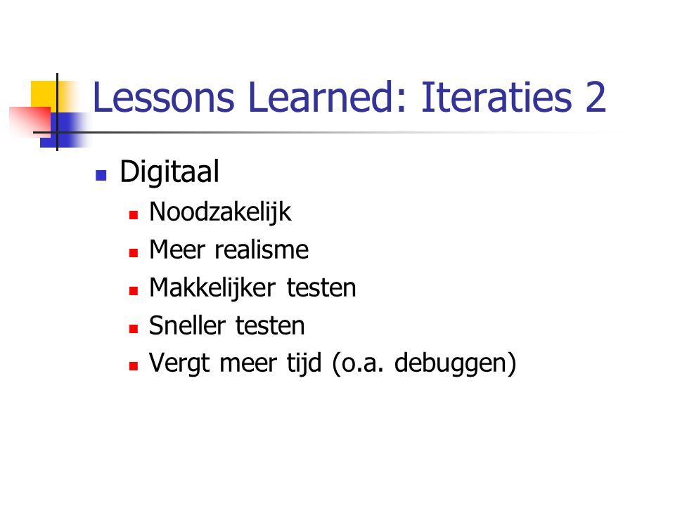 Lessons Learned: Iteraties 2