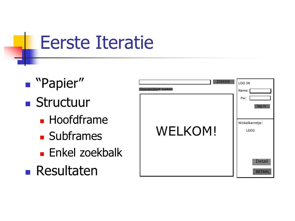 Eerste Iteratie Papier Structuur Resultaten Hoofdframe Subframes