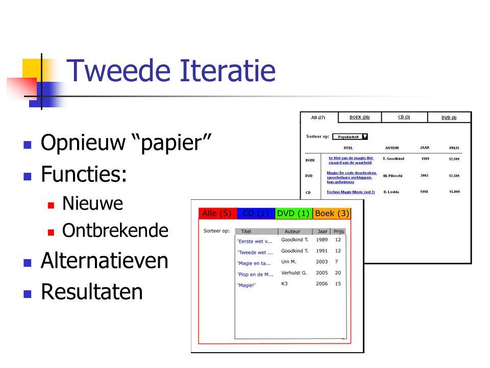 Tweede Iteratie Opnieuw papier Functies: Alternatieven Resultaten