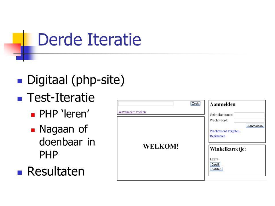 Derde Iteratie Digitaal (php-site) Test-Iteratie Resultaten