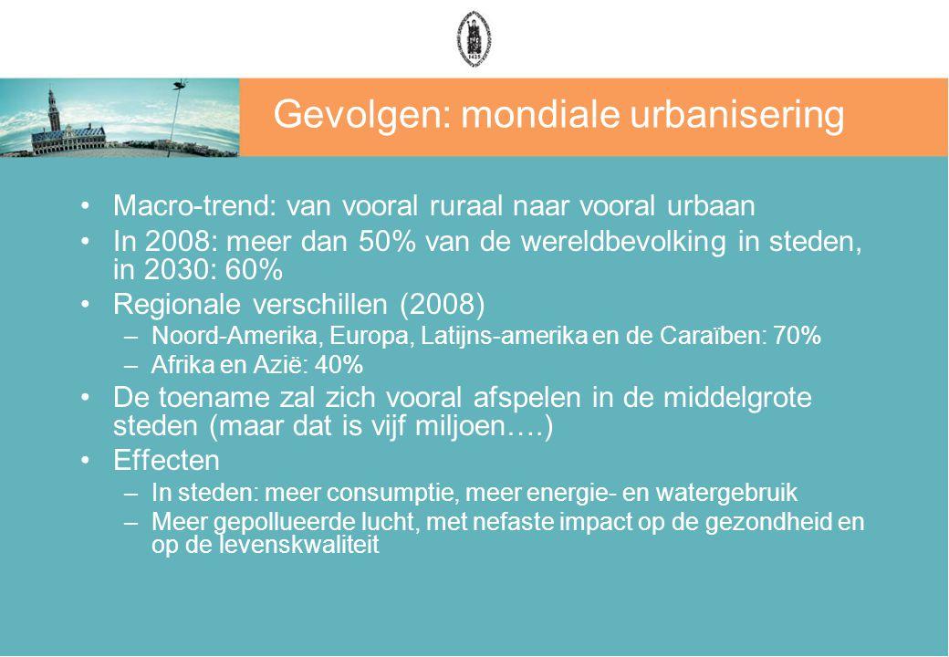 Gevolgen: mondiale urbanisering
