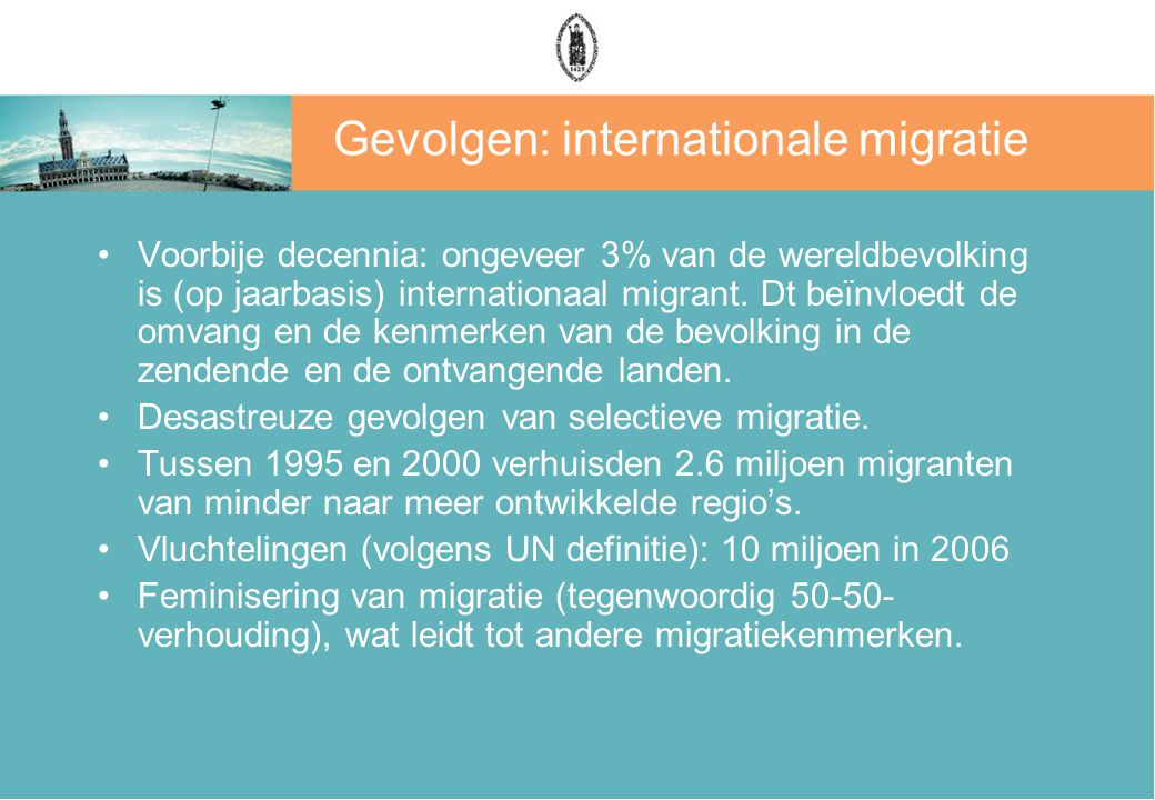 Gevolgen: internationale migratie