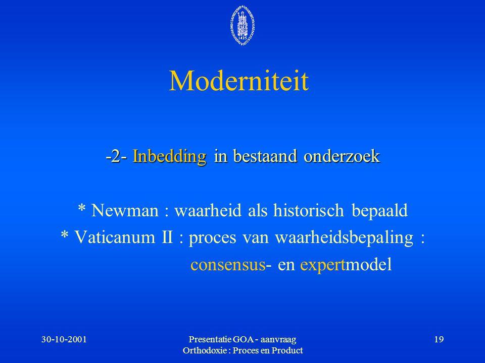 Moderniteit -2- Inbedding in bestaand onderzoek