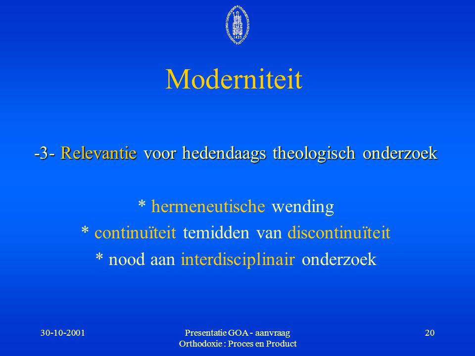Moderniteit -3- Relevantie voor hedendaags theologisch onderzoek