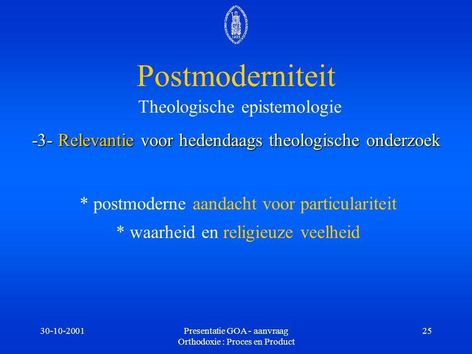 Postmoderniteit Theologische epistemologie -3- Relevantie voor hedendaags theologische onderzoek