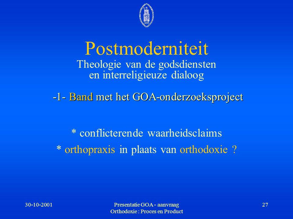 Postmoderniteit Theologie van de godsdiensten en interreligieuze dialoog -1- Band met het GOA-onderzoeksproject