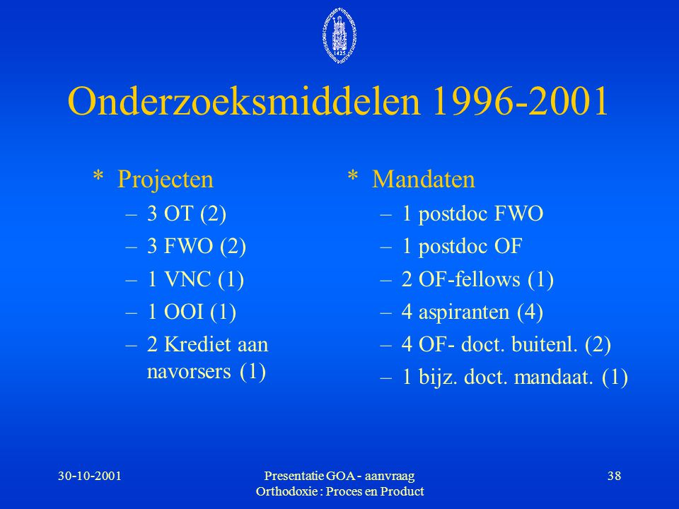 Presentatie GOA - aanvraag Orthodoxie : Proces en Product