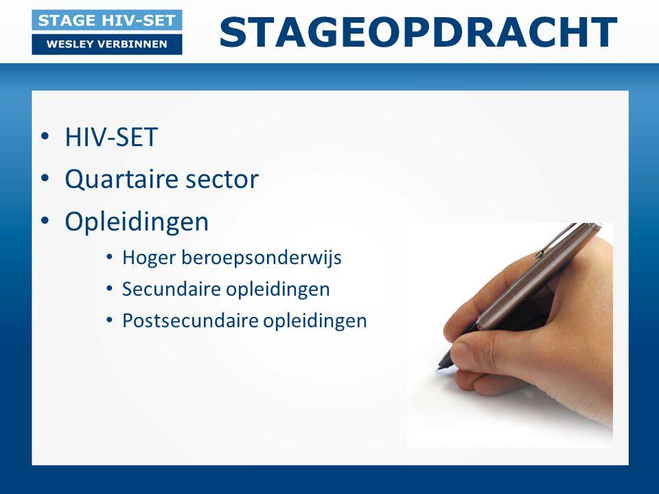 STAGEOPDRACHT HIV-SET Quartaire sector Opleidingen