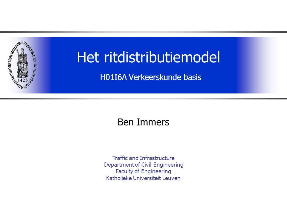 Het ritdistributiemodel H01I6A Verkeerskunde basis