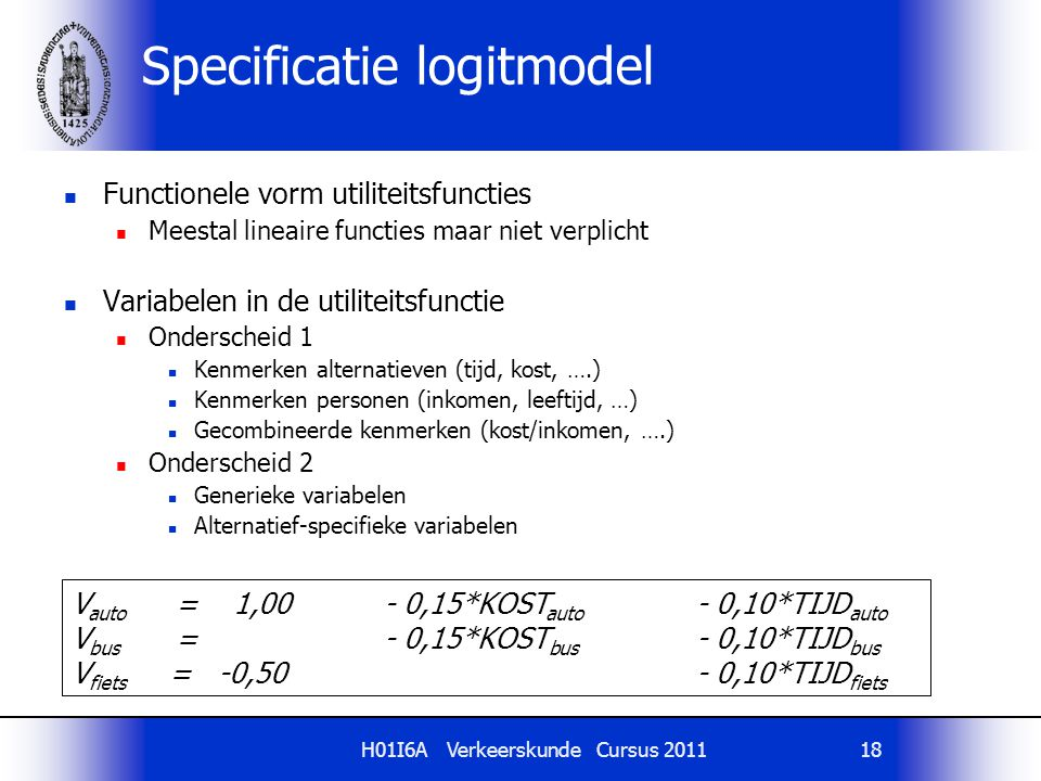 Specificatie logitmodel