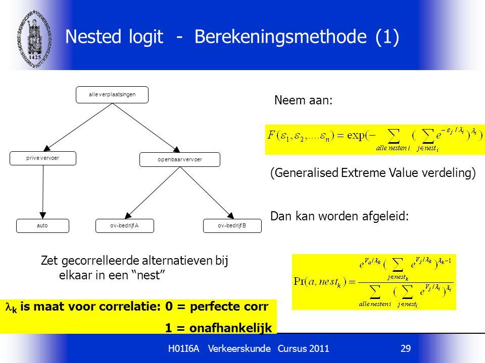 Nested logit - Berekeningsmethode (1)