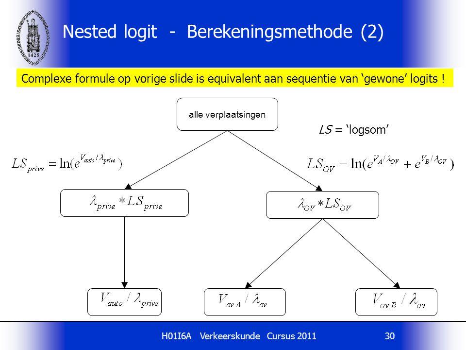Nested logit - Berekeningsmethode (2)
