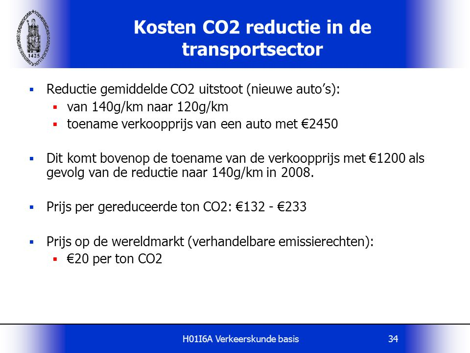 Kosten CO2 reductie in de transportsector