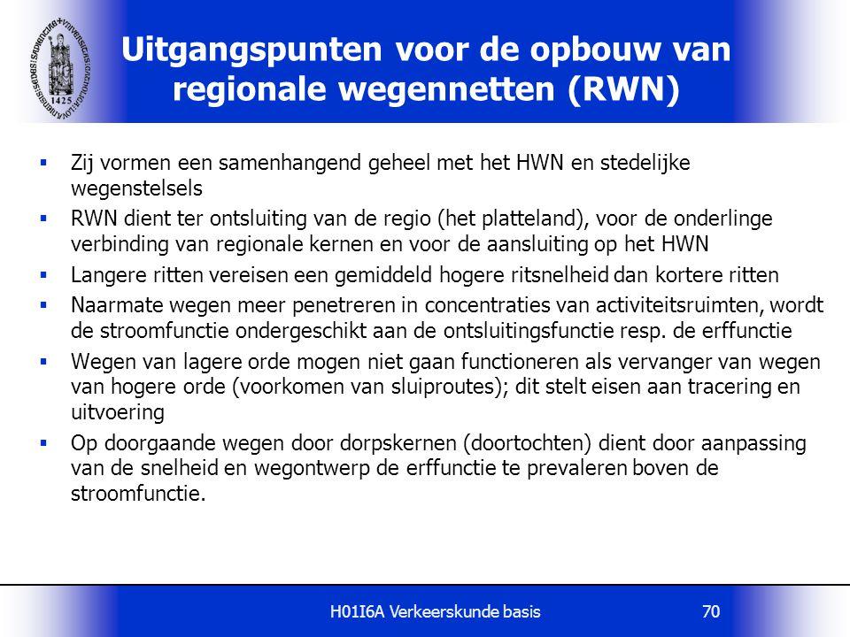 Uitgangspunten voor de opbouw van regionale wegennetten (RWN)