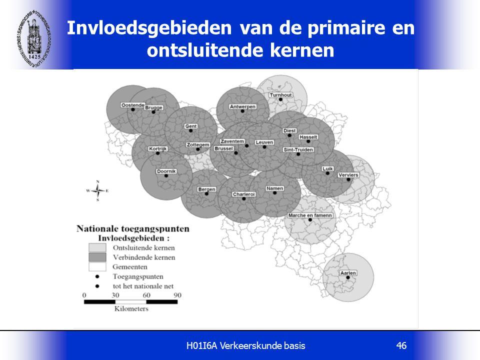Invloedsgebieden van de primaire en ontsluitende kernen
