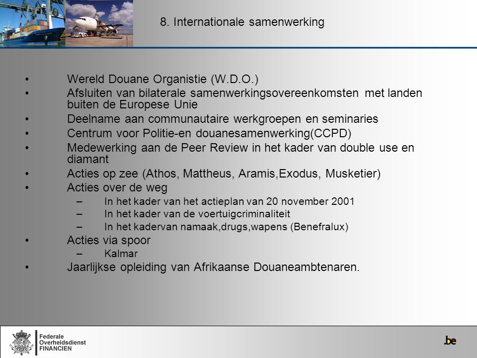 8. Internationale samenwerking
