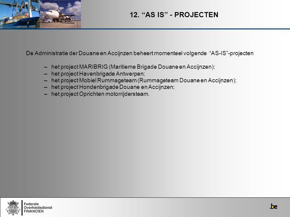 12. AS IS - PROJECTEN De Administratie der Douane en Accijnzen beheert momenteel volgende AS-IS -projecten.