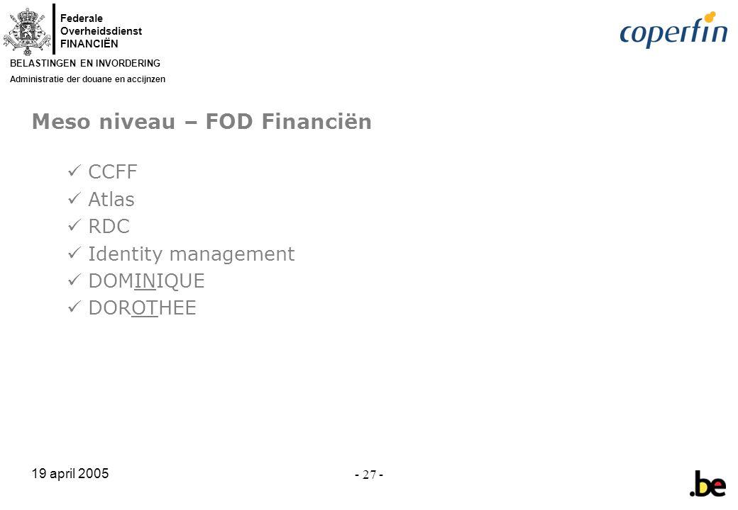 Meso niveau – FOD Financiën