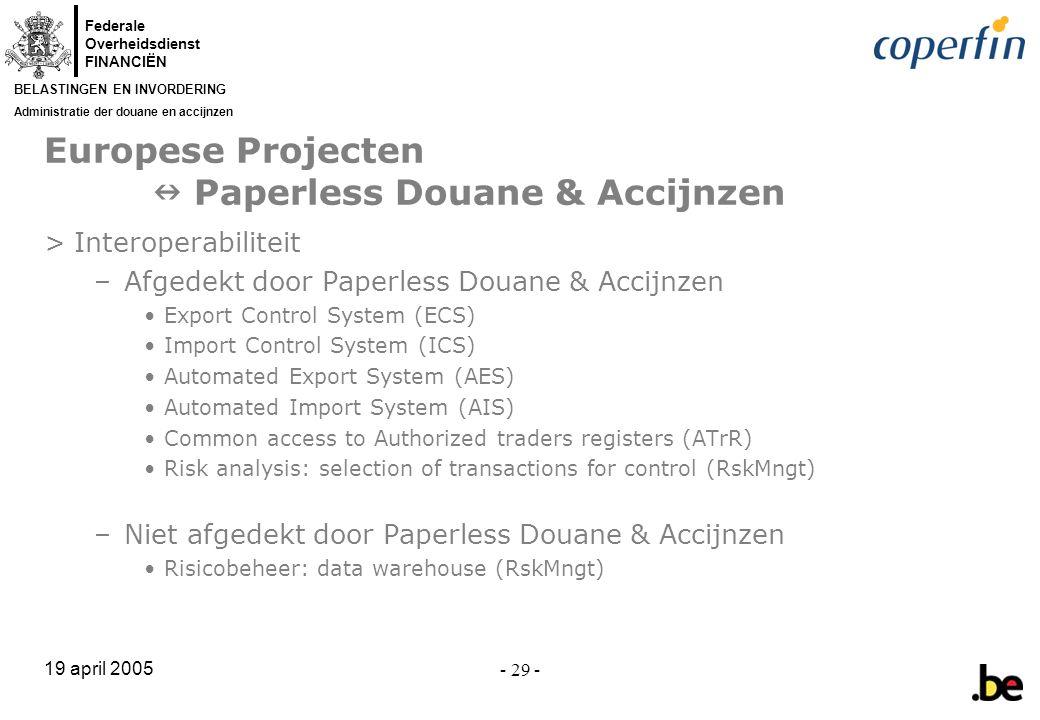 Europese Projecten  Paperless Douane & Accijnzen