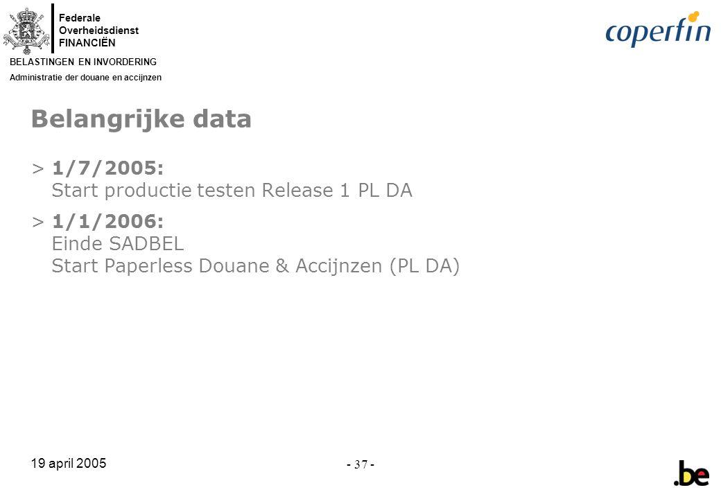 Belangrijke data 1/7/2005: Start productie testen Release 1 PL DA