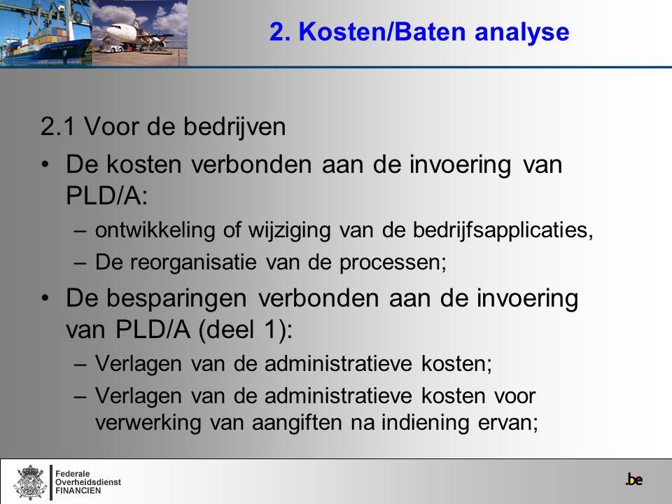De kosten verbonden aan de invoering van PLD/A: