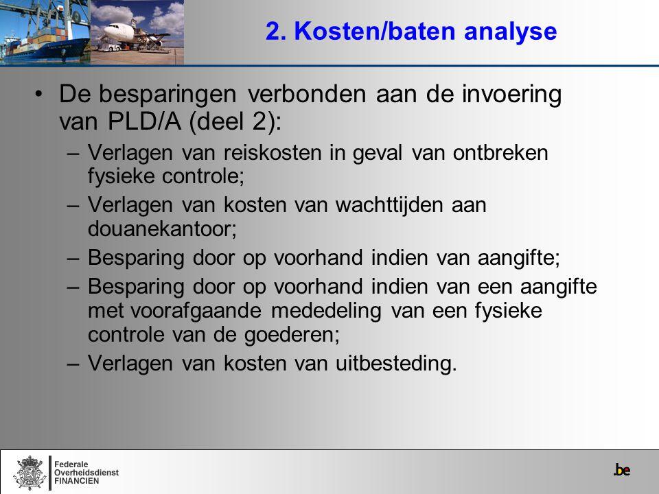 De besparingen verbonden aan de invoering van PLD/A (deel 2):