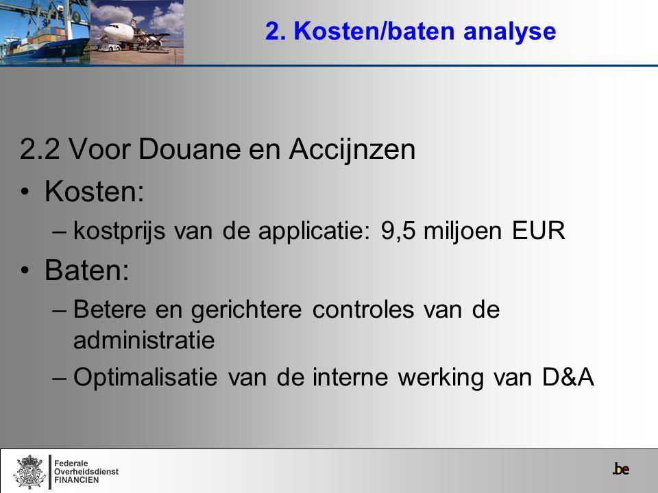 2.2 Voor Douane en Accijnzen Kosten: Baten: