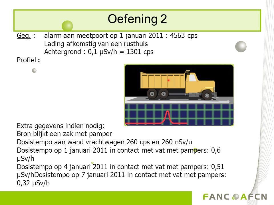 Oefening 2 Geg. : alarm aan meetpoort op 1 januari 2011 : 4563 cps