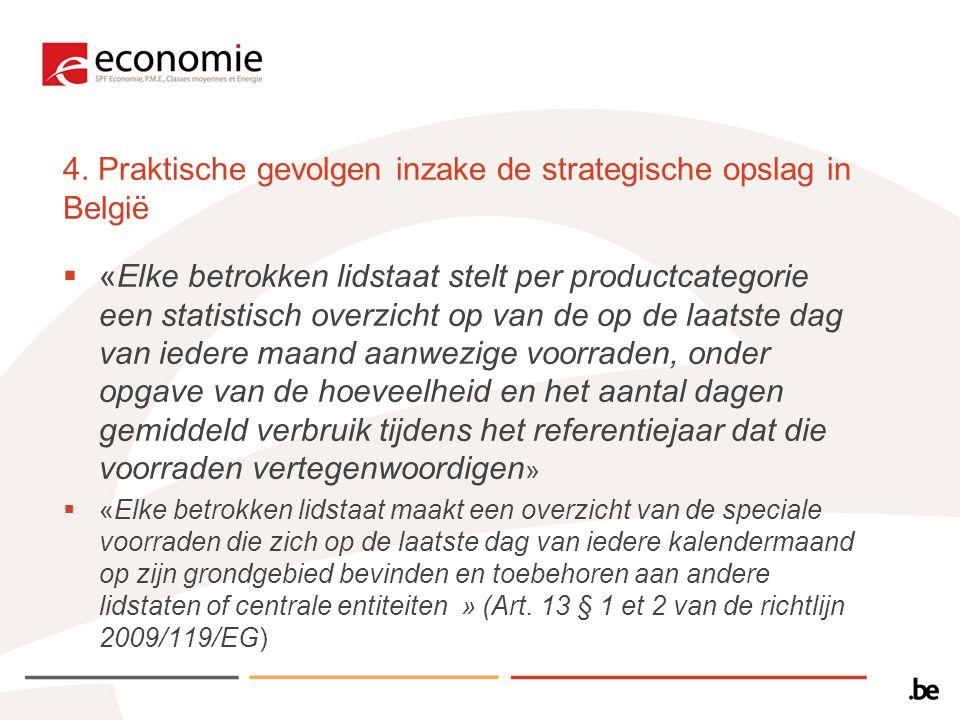 4. Praktische gevolgen inzake de strategische opslag in België