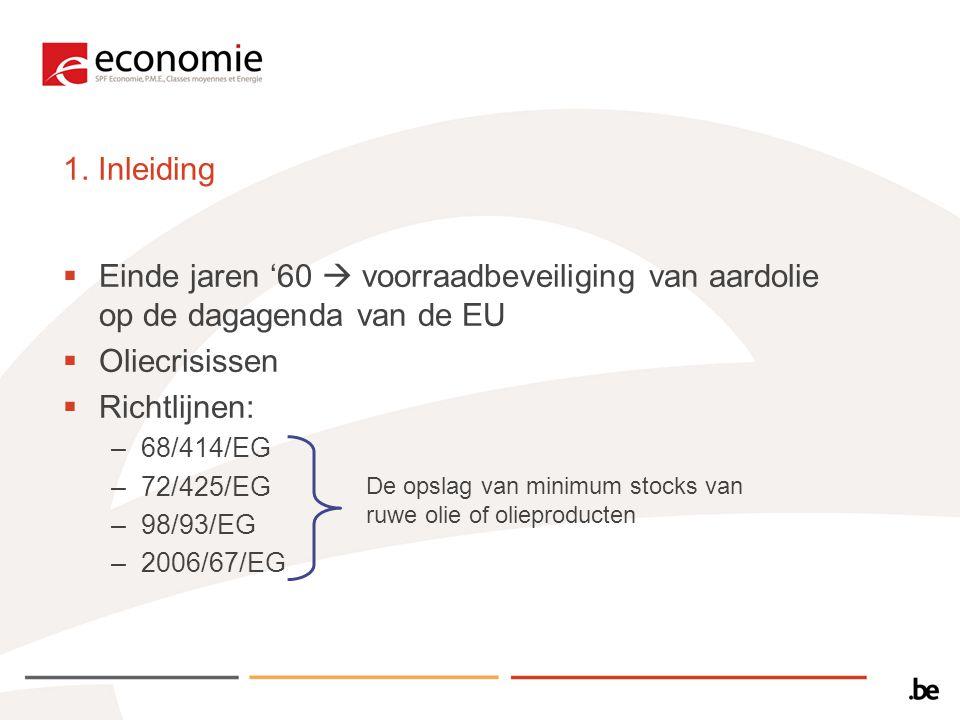 1. Inleiding Einde jaren '60  voorraadbeveiliging van aardolie op de dagagenda van de EU. Oliecrisissen.