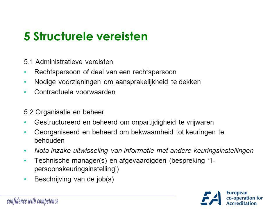 5 Structurele vereisten
