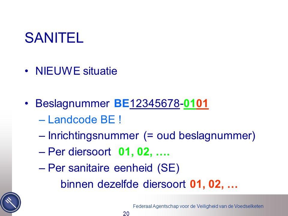 SANITEL NIEUWE situatie Beslagnummer BE12345678-0101 Landcode BE !