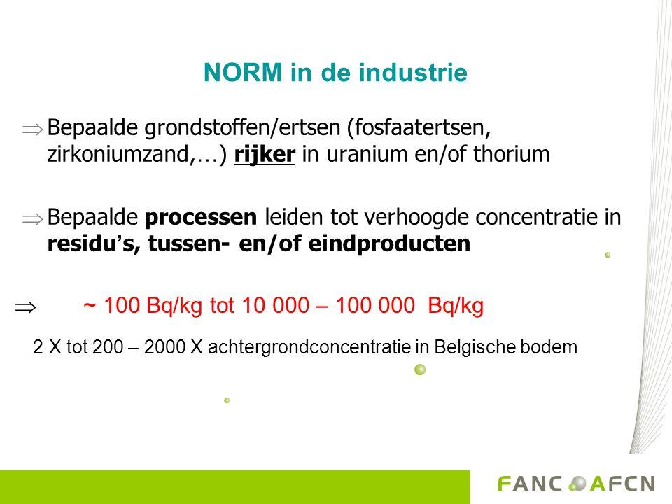 NORM in de industrie Bepaalde grondstoffen/ertsen (fosfaatertsen, zirkoniumzand,…) rijker in uranium en/of thorium.