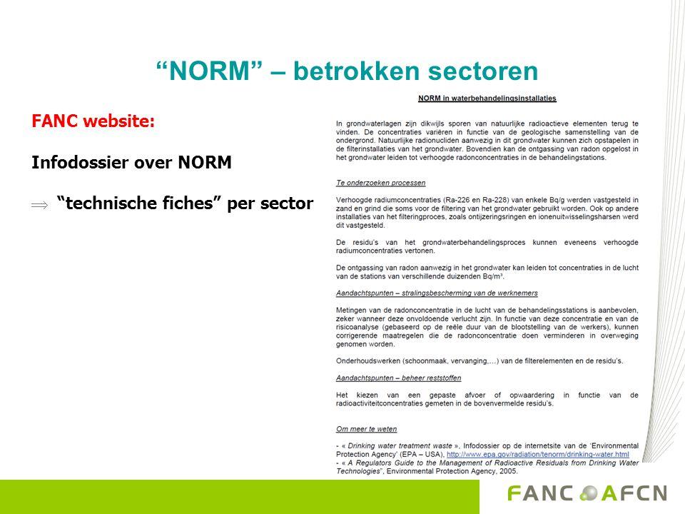 NORM – betrokken sectoren