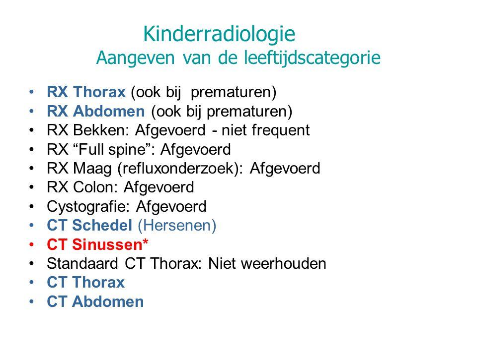 Kinderradiologie Aangeven van de leeftijdscategorie