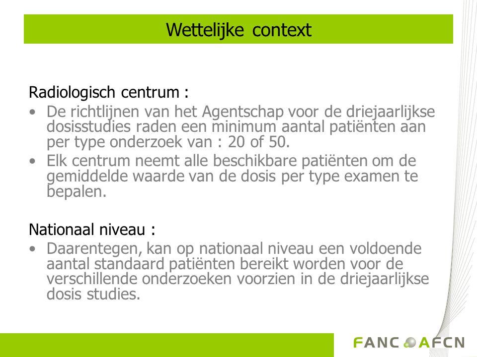 Wettelijke context Radiologisch centrum :
