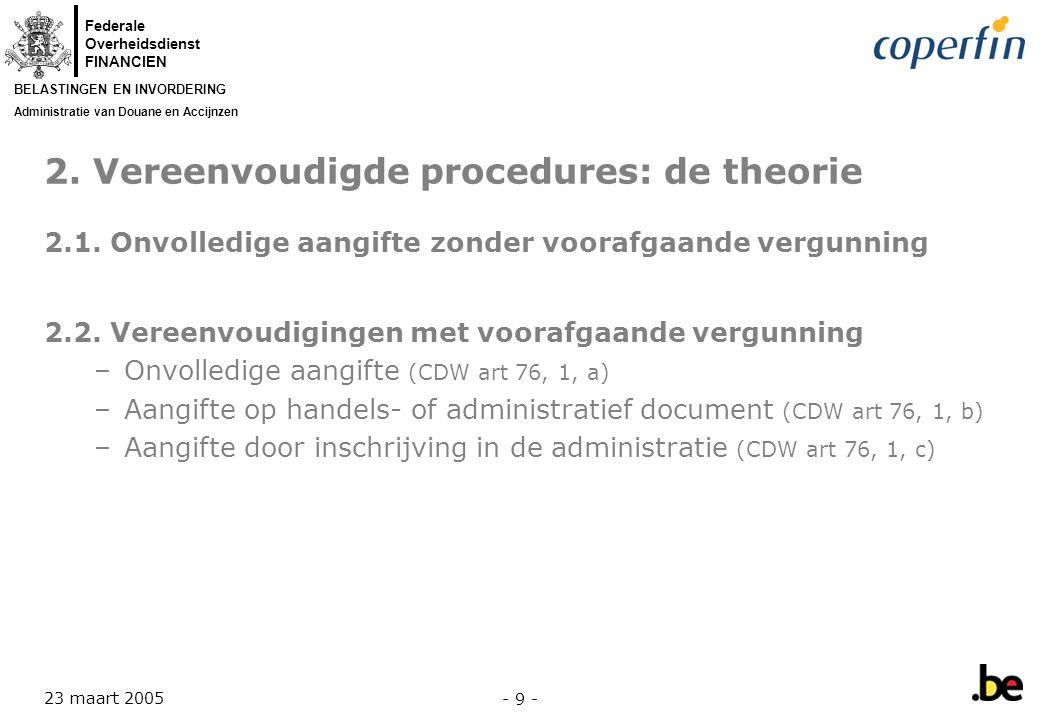 2. Vereenvoudigde procedures: de theorie