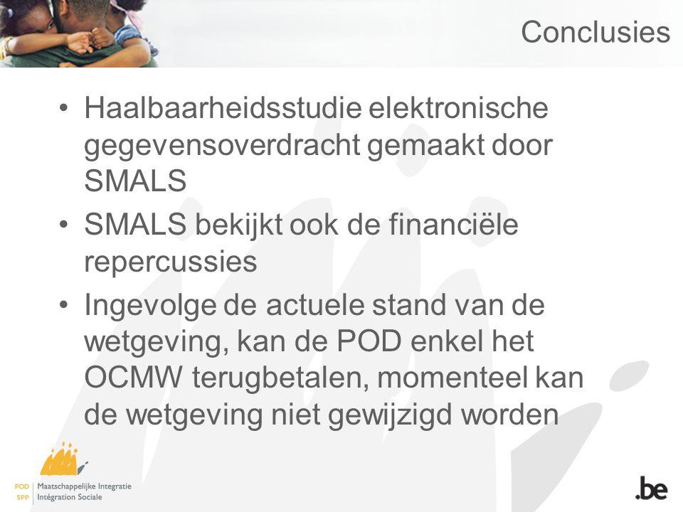 Conclusies Haalbaarheidsstudie elektronische gegevensoverdracht gemaakt door SMALS. SMALS bekijkt ook de financiële repercussies.
